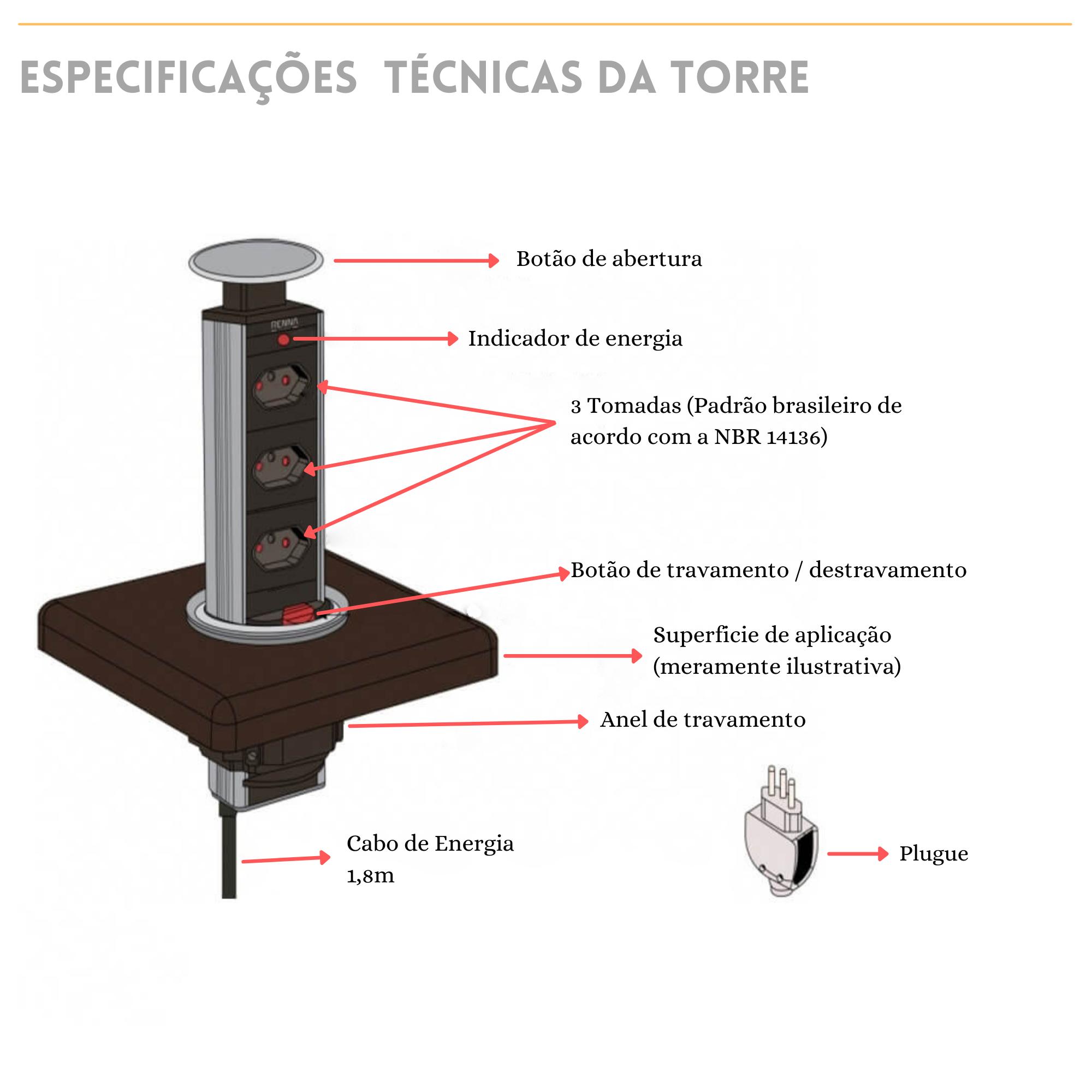 Torre Retrátil 3 Tomadas - Especificações